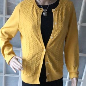 Lands end 100% cotton cable knit yellow cardigan